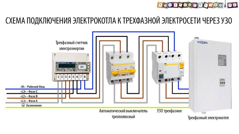 Схема подключения трехфазного счетчика через узо