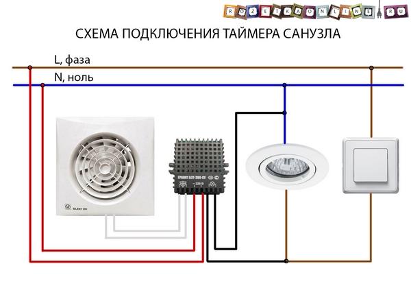 Наглядная схема подключения таймера санузла