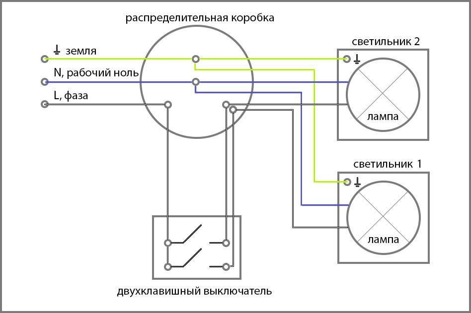 Схема подключения двухклавишного (двойного) выключателя