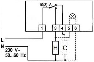 Схема подключения механического терморегулятора 439