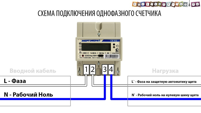 Схема подключение однофазного счетчика фото 981
