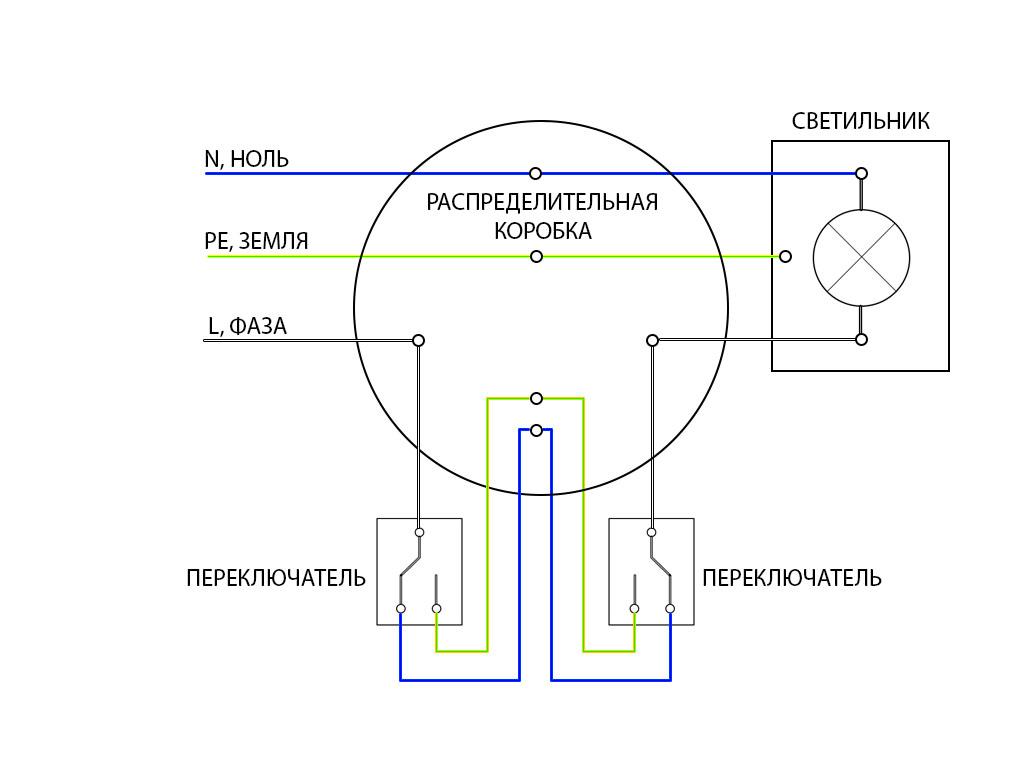 Электрическая схема проходного выключателя фото 650