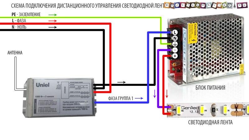 Схема подключения дистанционного управления светодиодной лентой с пульта