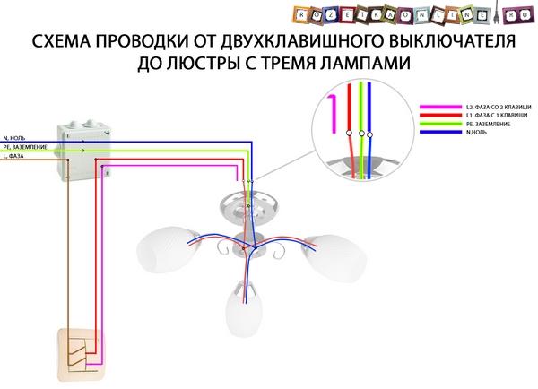 Схема проводки от двухклавишного выключателя к люстре на 3 лампы