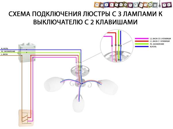 Схема подключения люстры на 3 лампы к выключателю с 2 клавишамиmi