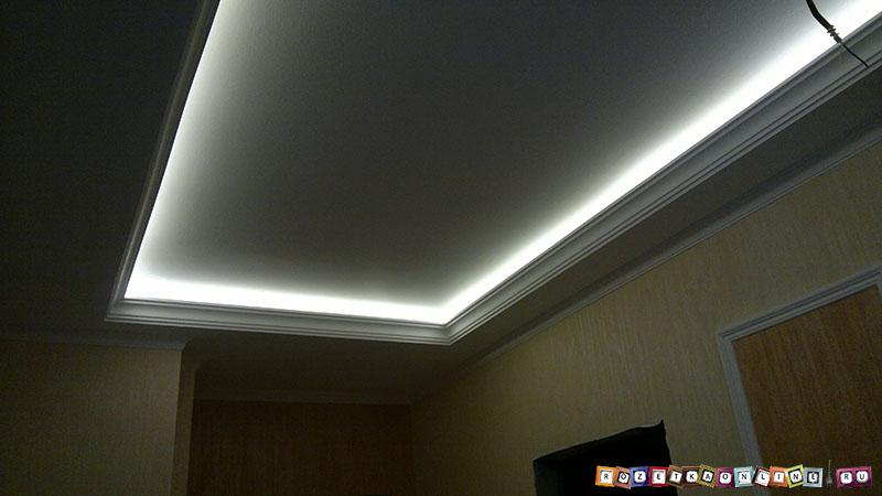 Как установить светодиодную подсветку на потолок Установка светодиодной ленты на потолок своими руками