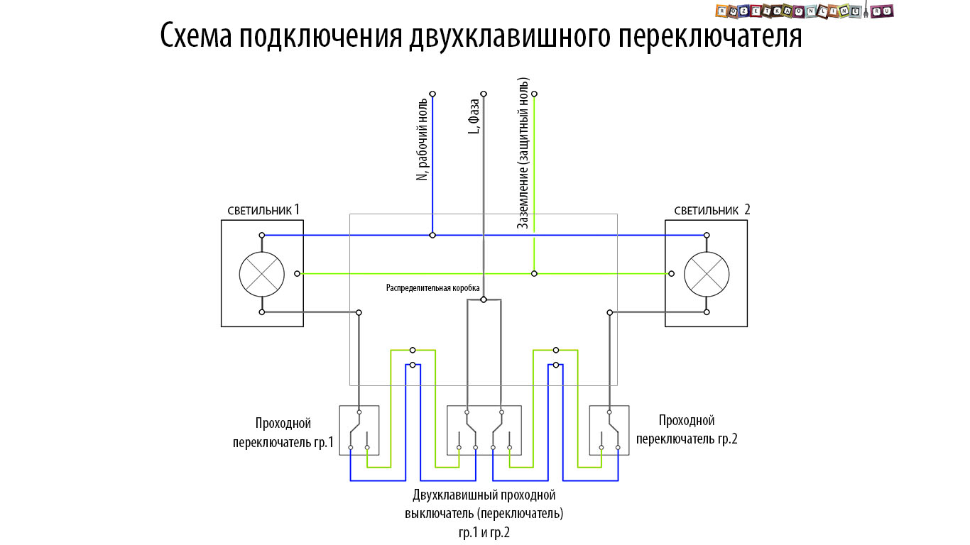 Схема подключения проходного выключателя света фото 273