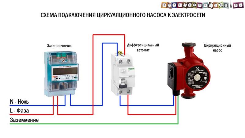Электрическая схема циркуляционного насоса для отопления