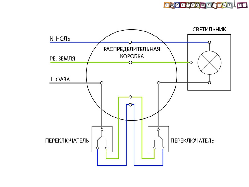 Схема подключения двух лампочек и выключателя фото 825