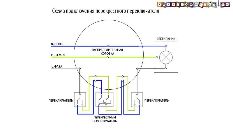 Двухклавишный перекрестный переключатель схема подключения