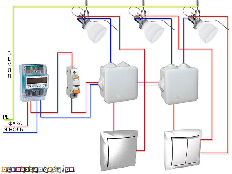 Схема подключения лампочек последовательно