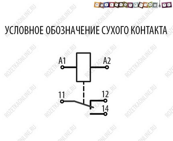 Условное обозначение сухого контакта на схемах