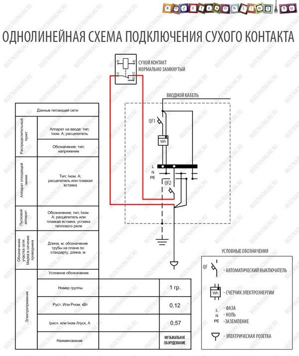 Однолинейная схема прямого подключения к сухому контакту