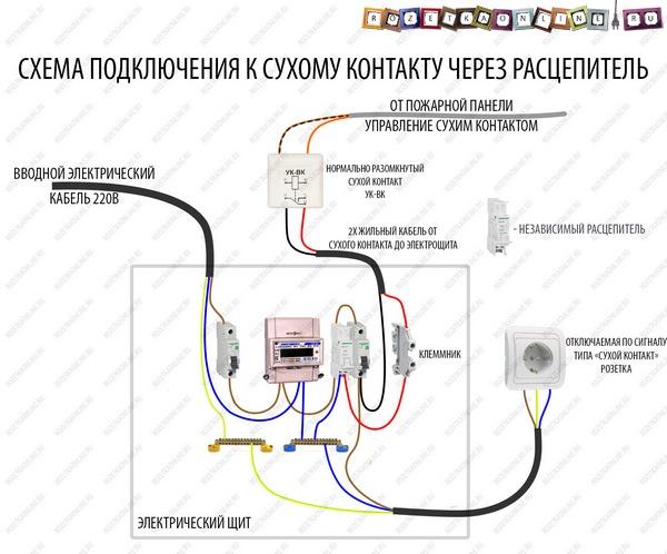 Схема подключения сухого контакта через независимый расцепитель