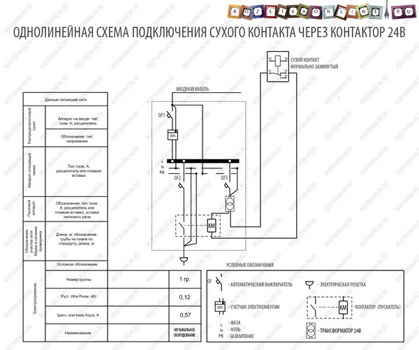 Однолинейная схема подключения сухого контакта через контактор