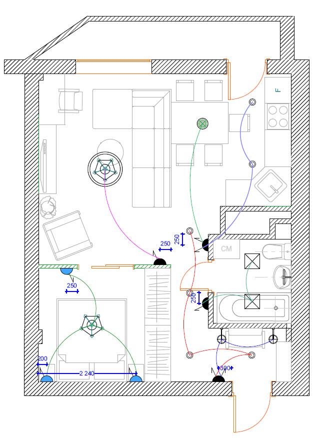 Схема расположения розеток в квартире фото 120